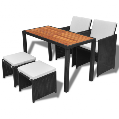 Picture of Outdoor Dining Set Acacia Wood - Black