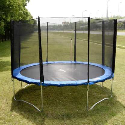 Picture of 12 FT Trampoline Combo Bounce Jump Safety Enclosure Net with Spring Pad Round
