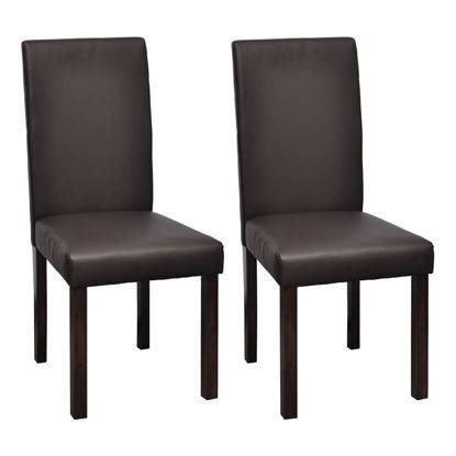 Picture of 2 x Dining chairs brown leather