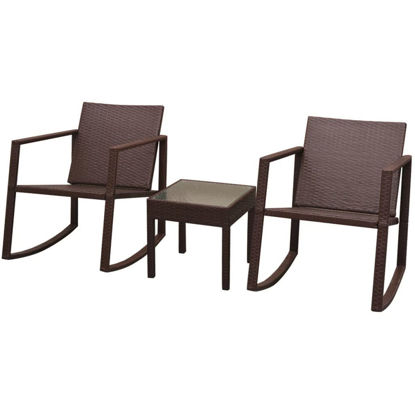 Picture of Outdoor Rocking Chair and Table Set - Brown