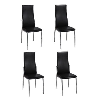 Picture of 4 Dining chairs chrome black leather