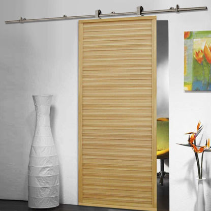 Picture of 6.6 FT Modern Stainless Steel Sliding Barn Wood Door Closet Hardware Track Set