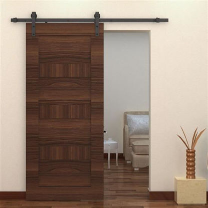Picture of 6.6' Interior Sliding Barn Door Kit Hardware Set - Black Steel