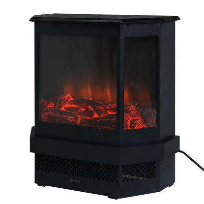 Picture of Adjustable Electric Fireplace Heater 1500W Tempered Glass Free Standing 23""