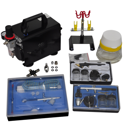 """Picture of Airbrush Compressor Set with 3 Pistols 10"""" x 5.3"""" x 8.7"""""""