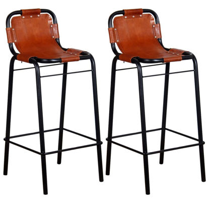 """Picture of Bar Stools 2 pcs Genuine Leather 18.1""""x17.7""""x37"""""""
