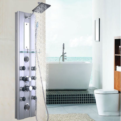 Picture of Bathroom Aluminum Shower Panel Thermostatic Tower with 10 Massage Jets 46""