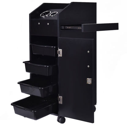 Picture of Beauty Salon Spa Rolling Trolley with Storage Trays