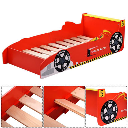Picture of Boy Bed Kids Toddler Wooden Race Car Furniture Bedroom