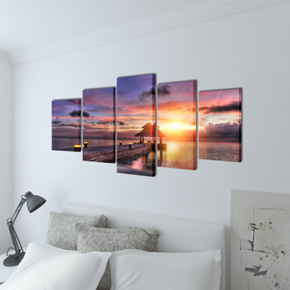"""Picture of Canvas Wall Print Set Beach with Pavilion 79"""" x 39"""""""
