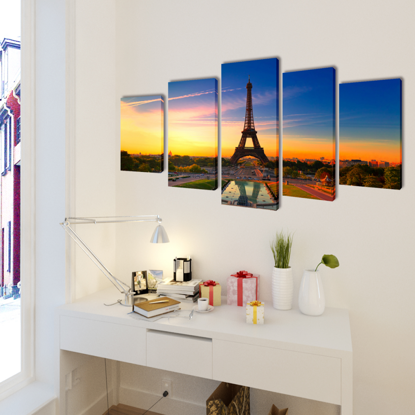 """Picture of Canvas Wall Print Set Eiffel Tower 39"""" x 20"""""""