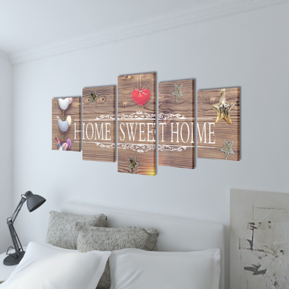 """Picture of Canvas Wall Print Set Home Sweet Home Design 39"""" x 20"""""""