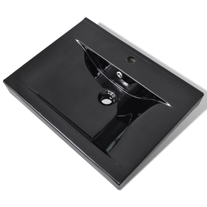 """Picture of Ceramic Basin Rectangular Sink Black with Faucet Hole 23.6"""" x 18.1"""""""