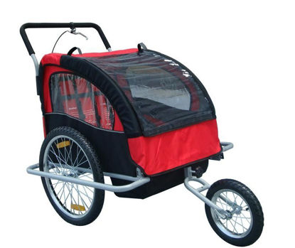 Picture of Child Baby Stroller and Bike Trailer 2-in-1 Double - Red