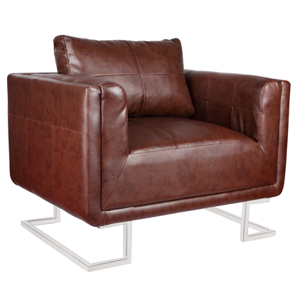 Picture of Contemporary Luxury Armchair Cube with Chrome Feet - Brown