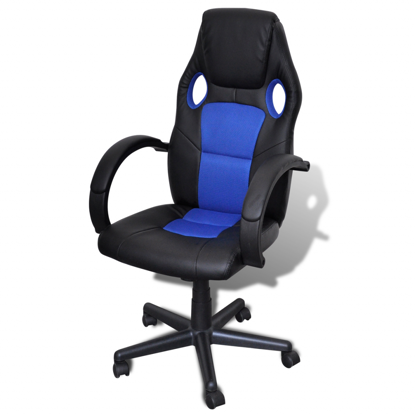 Picture of Desk Office Chair Artificial Leather Swivel Adjustable Height - Blue