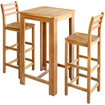 Picture of Dining Bar Table and Stool Set - 3 pcs Solid Acacia Wood