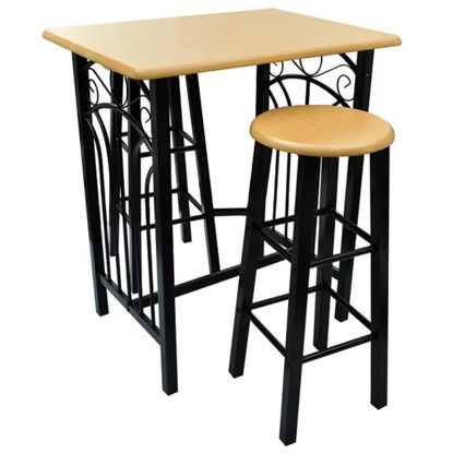 Picture of Dining Bar Table and Stool Set - Wood and Steel
