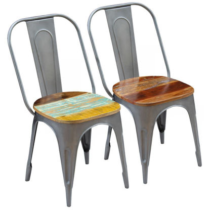 """Picture of Dining Chairs 2 pcs Solid Reclaimed Wood 18.5""""x20.5""""x35"""""""