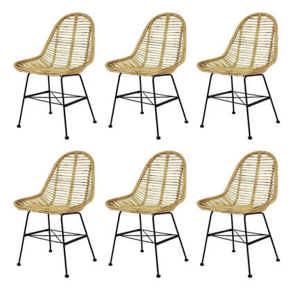 Picture of Dining Chairs 6 pcs Natural Rattan
