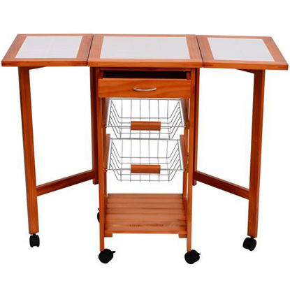 Picture of Dining Rolling Kitchen Trolley Cart Top Drop
