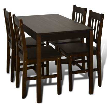 Picture of Dining Table with 4 Chairs - Brown