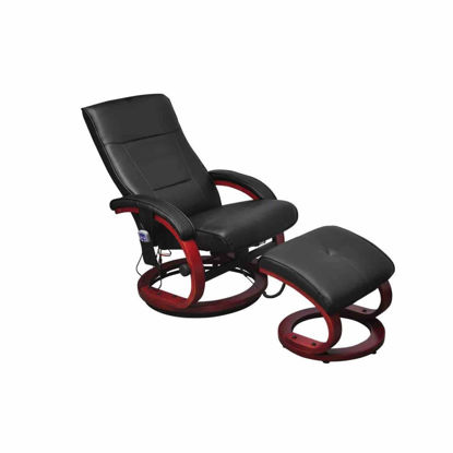 Picture of Electric TV Recliner Massage Chair Black with a footstool