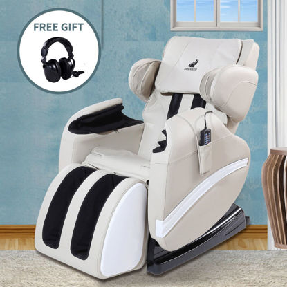 Picture of Electronic Full Body Shiatsu Massage Chair Recliner with Heat Stretched and Foot Rest Zero Gravity - White