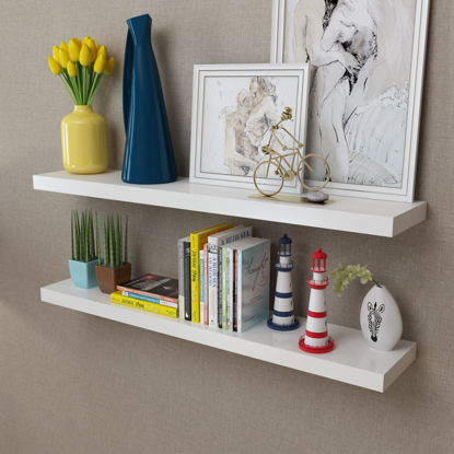 Picture of Floating Wall Shelves Book/DVD Storage - 2 White MDF