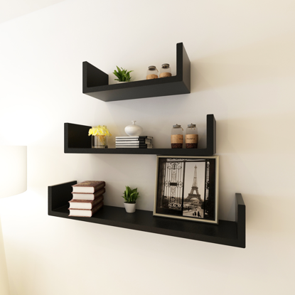 Picture of Floating Wall Shelves Display MDF U-Shaped Book/DVD Storage - 3 Black
