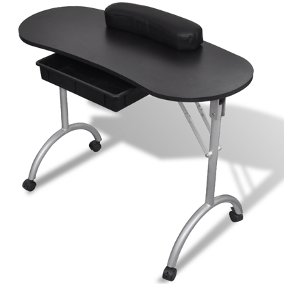 Picture of Foldable Manicure Nail Table with Castors - Black
