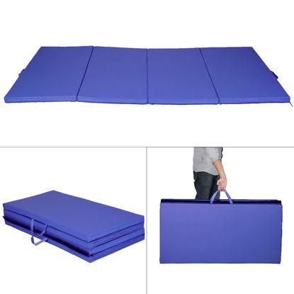 Picture of Folding Tumbling Gymnastics Mat Blue - 4' x 8' x 2""