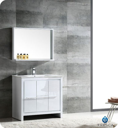 "Picture of Fresca Allier 36"" White Modern Bathroom Vanity w/ Mirror"