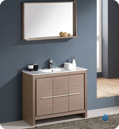 "Picture of Fresca Allier 40"" Gray Oak Modern Bathroom Vanity w/ Mirror"