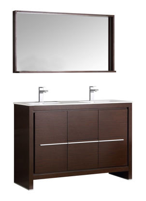 "Picture of Fresca Allier 48"" Wenge Brown Modern Double Sink Bathroom Vanity w/ Mirror"