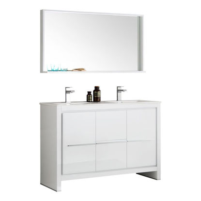 "Picture of Fresca Allier 48"" White Modern Double Sink Bathroom Vanity w/ Mirror"
