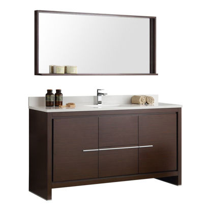 "Picture of Fresca Allier 60"" Wenge Brown Modern Single Sink Bathroom Vanity w/ Mirror"