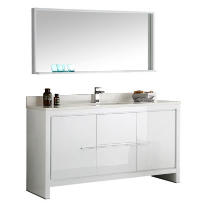 "Picture of Fresca Allier 60"" White Modern Single Sink Bathroom Vanity w/ Mirror"