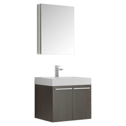 "Picture of Fresca Alto 23"" Gray Oak Wall Hung Modern Bathroom Vanity w/ Medicine Cabinet"
