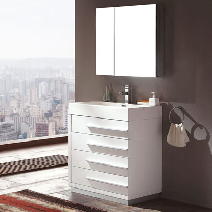"""Picture of Fresca Livello 30"""" Modern Bathroom Vanity with Medicine Cabinet in White"""