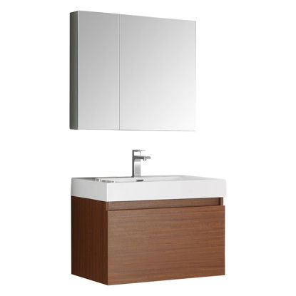 "Picture of Fresca Mezzo 30"" Teak Wall Hung Modern Bathroom Vanity with Medicine Cabinet"