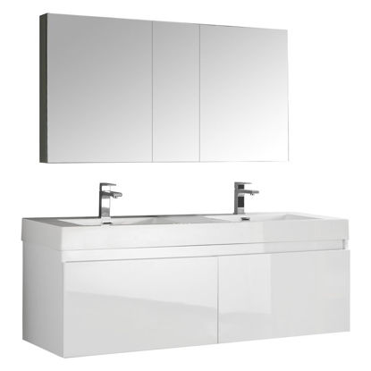 """Picture of Fresca Mezzo 59"""" White Wall Hung Double Sink Modern Bathroom Vanity with Medicine Cabinet"""
