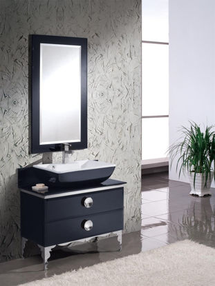 """Picture of Fresca Moselle 36"""" Modern Bathroom Vanity in Black with Glass Countertop and Mirror"""