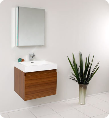 "Picture of Fresca Nano 24"" Teak Modern Bathroom Vanity with Medicine Cabinet"