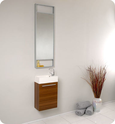 "Picture of Fresca Pulito 16"" Small Teak Modern Bathroom Vanity with Tall Mirror"