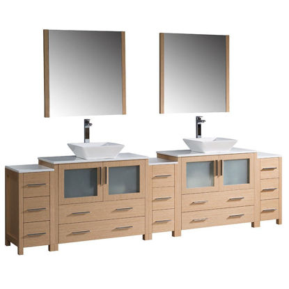 """Picture of Fresca Torino 108"""" Light Oak Modern Double Sink Bathroom Vanity with 3 Side Cabinets and Vessel Sinks"""