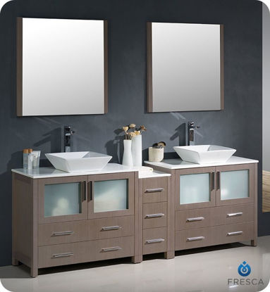 """Picture of Fresca Torino 84"""" Gray Oak Modern Double Sink Bathroom Vanity with Side Cabinet and Vessel Sinks"""
