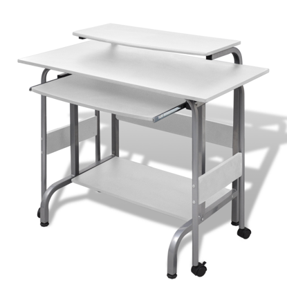 Picture of Home Office Adjustable Computer Desk Workstation - White