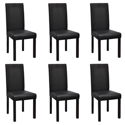 Picture of Modern Artificial Leather Wooden Dining Chairs - 6 pcs Black