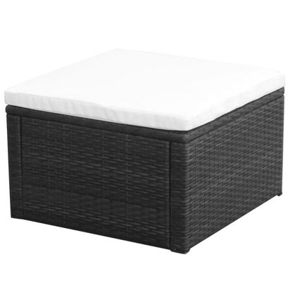 "Picture of Ottoman Footstool 21"" - Poly Rattan - Black"